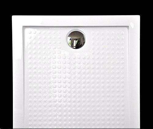 Art-of-Baan® - Extra flache Duschtasse, Antirutsch Duschwanne aus Acryl, ABS Weiß; 120x80x3,5cm inkl. Ablaufgarnitur