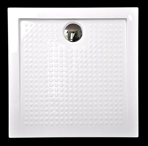Art-of-Baan® - Extra flache Duschtasse, Duschwanne aus Acryl, weiß, ABS; 80x80x3,5cm inkl. Ablaufgarnitur
