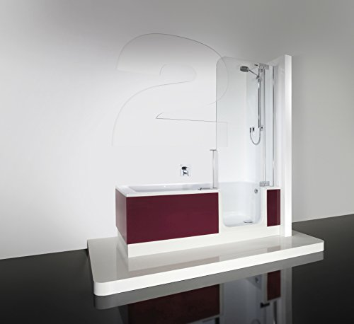 Artweger Twinline 2 Dusch Badewanne mit Duschzone 170 cm Duschabtrennung silber hochglanz mit Schürze ARTWALL Beton