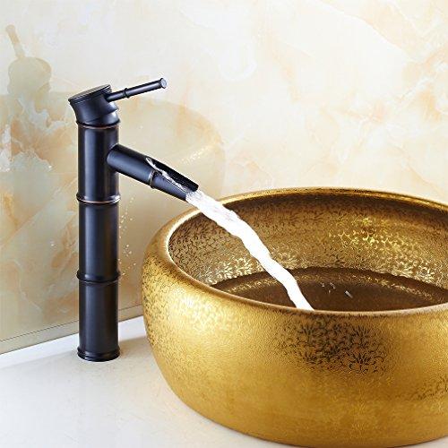auralum einzel wasserhahn wasserfall waschbecken armatur bad schwarz m bel24. Black Bedroom Furniture Sets. Home Design Ideas
