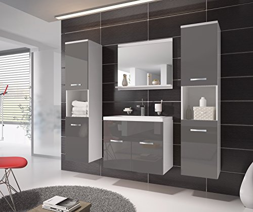 badezimmer badm bel montreal xl 60 cm waschbecken grau. Black Bedroom Furniture Sets. Home Design Ideas