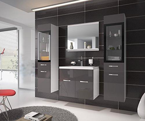 badezimmer badm bel rio xl led 60 cm waschbecken hochglanz grau fronten unterschrank 2x. Black Bedroom Furniture Sets. Home Design Ideas