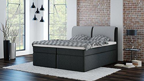 boxspringbett ylva granitgrau mit kissen hellgrau 180x200cm h3 inkl visco topper 7 zonen. Black Bedroom Furniture Sets. Home Design Ideas