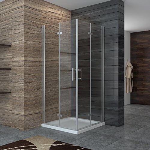 Dusche Duschkabine Falttür Duschabtrennung Eckeisntieg Duschtür Eckdusche Duschwand aus Sicherheitsglas 90x80cm