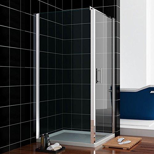 Duschkabine 90x90cm Rechteck Rahmenlos Duschabtrennung Schwingtür mit Duschtasse
