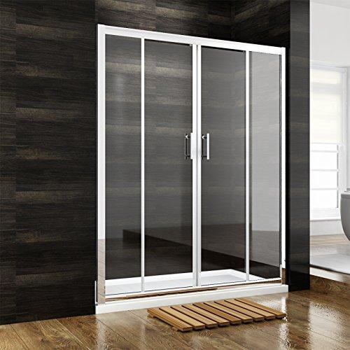 Duschkabine Rechteck Duschtrennwand Doppel Schiebetür ohne Seitenwand 140cm