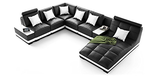 echt leder sofa u form wohnlandschaft milano schwarz wei mit premium kunstleder. Black Bedroom Furniture Sets. Home Design Ideas