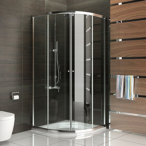 Echtglas Schiebetür Duschkabine Duschabtrennung 90x90 x190 cm Antikalkbeschichtung Duschkabine mit Rahmen Dusche Komplett inkl. Glasveredelung Trennwand Duschwand