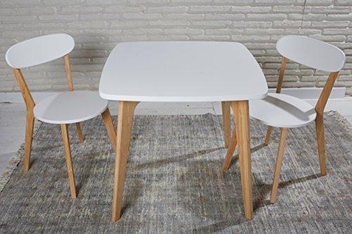 essgruppe sitzgruppe esstisch 2 st hle k chentisch 80 x 80 x 75 cm wei retro stil tisch. Black Bedroom Furniture Sets. Home Design Ideas