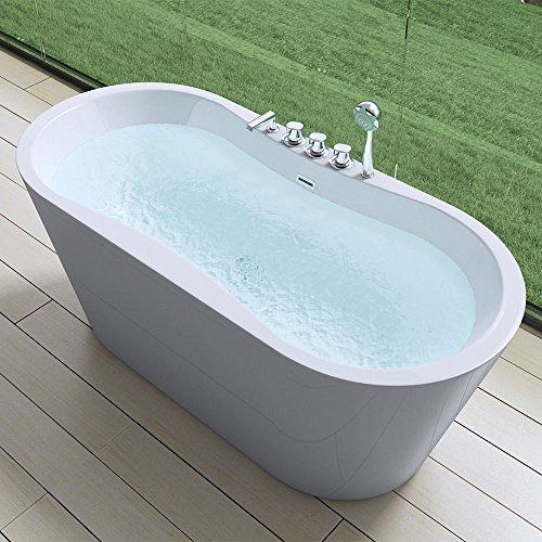 Exclusive freistehende Design Badewanne Vicenza602 in weiß, BTH: 180x80x63 cm