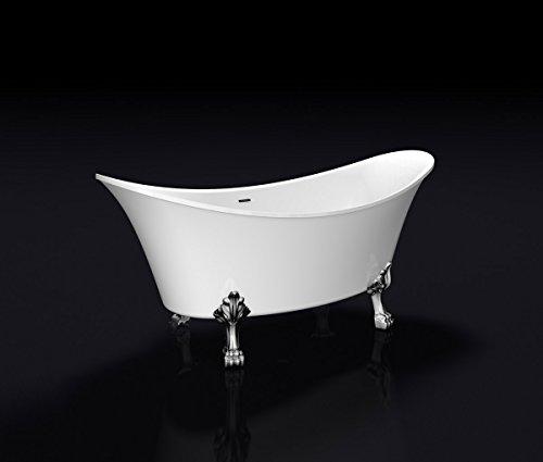 Freistehende Badewanne Wanne Standbadewanne Acryl 1730x750mm weiß