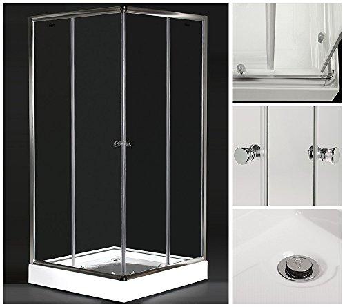 Home Deluxe Duschkabine Tear | inkl. Duschtasse und Glasaufsatz | verschiedene Größen | 80x80cm