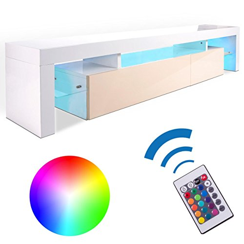 Homelux TV Board Lowboard Medienwand TV-Schrank mit RGB-LED und Push to open - Funktion in Creme-Weiss