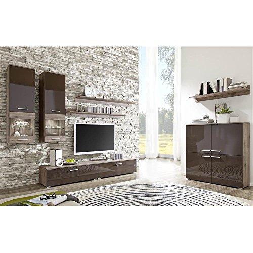 justhome como iia wohnwand anbauwand schrankwand farbe sanremo eiche braun hochglanz m bel24. Black Bedroom Furniture Sets. Home Design Ideas