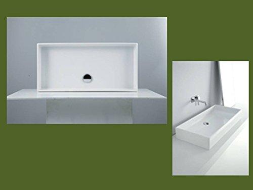Keramik - Waschbecken / Aufsatzwaschtisch 80 x 39 cm weiß ohne Hahnloch, mit BEST CLEAN Beschichtung