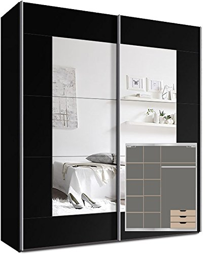 kleiderschrank schwebet renschrank ca 200cm inkl 9 einlegeb den t rd mpfer f r 2 t ren und. Black Bedroom Furniture Sets. Home Design Ideas