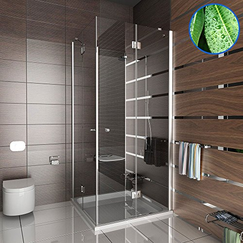 Komplett Dusche Eckeinstieg Lux Duschabtrennung mit Antikalk Echtglas Wannenmaß 100x100x195