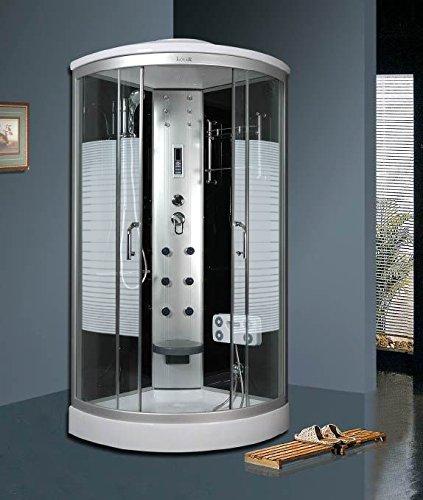Luxus4Home Arielle LED Duschkabine 90 x 90 cm Komplettdusche mit Massagefunktion Armaturen Sicherheitsglas (ESG) Dusche