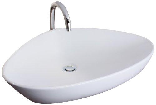 Mebasa MYBAW11 Brindisi Aufsatzwaschtisch  Aufsatzwaschbecken Waschtisch Waschbecken, Montage stehend, weiß