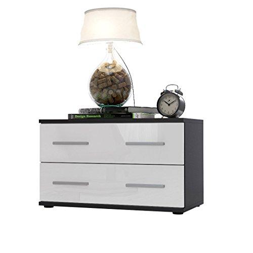 nachttisch nachtkonsole kioto korpus in schwarz matt front in wei hochglanz m bel24. Black Bedroom Furniture Sets. Home Design Ideas