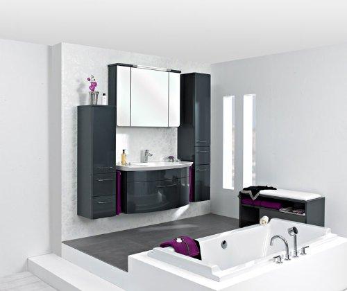 badezimmer badm bel montreal xl 60 cm waschbecken grau hochglanz fronten unterschrank. Black Bedroom Furniture Sets. Home Design Ideas