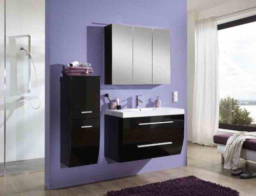 sam badm bel set salzburg in hochglanz schwarz 90 cm badezimmer bestehend aus 1 x waschplatz. Black Bedroom Furniture Sets. Home Design Ideas