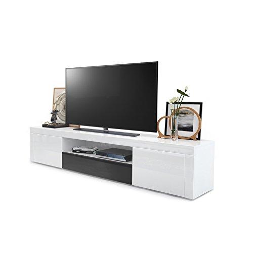 tv board lowboard santiago korpus in wei hochglanz fronten in wei hochglanz und schwarz. Black Bedroom Furniture Sets. Home Design Ideas
