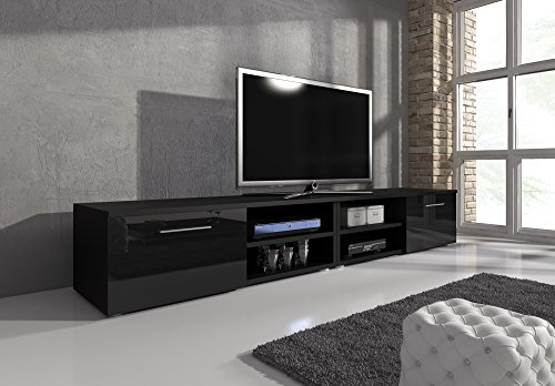 tv m bel lowboard tv element tv schrank tv st nder entertainment vegas korpus schwarz matt. Black Bedroom Furniture Sets. Home Design Ideas
