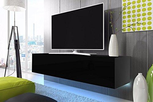TV Schrank Lowboard Hängeboard SIMPLE mit LED Blau (Schwarz Matt ...