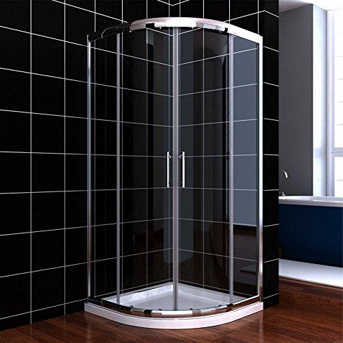 Viertelkreis Duschkabine 80x80 Duschabtrennung mit Duschtasse Runddusche Schiebetür Dusche Duschwand