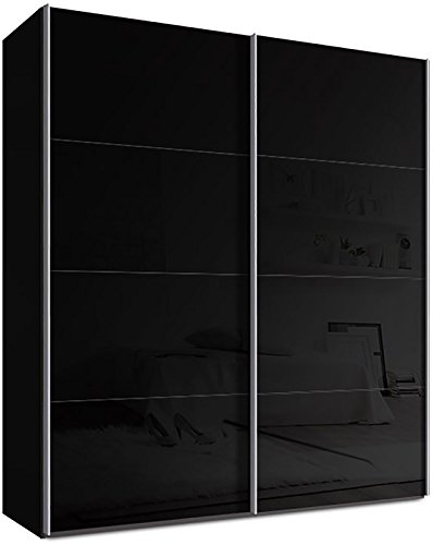 webesto schwebet renschrank kleiderschrank ca 200 cm schwarz mit glast ren in schwarz. Black Bedroom Furniture Sets. Home Design Ideas