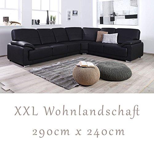 Wohnlandschaft couchgarnitur nadia in softlux schwarz for Couchgarnitur wohnlandschaft