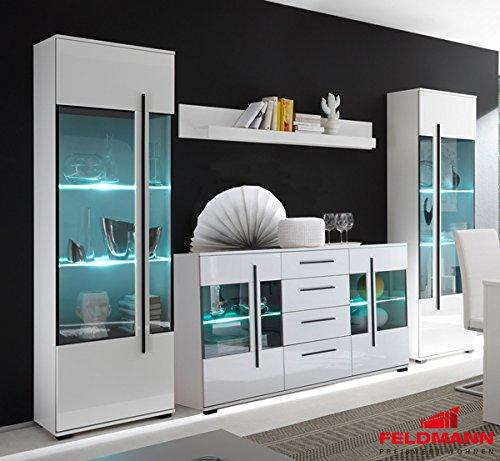 wohnzimmer set mit standvitrinen led beleuchtung 270cm 4 teilig 440944 wei m bel24. Black Bedroom Furniture Sets. Home Design Ideas