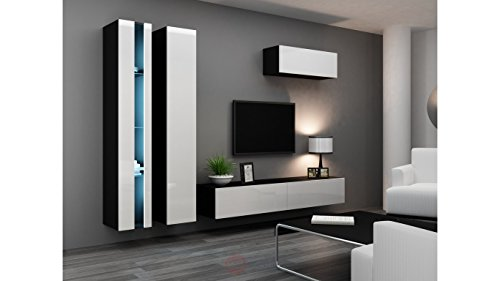 bmf vigo new i wohnwand wohnwand in matt hochglanz tv schrank schwarz wei m bel24. Black Bedroom Furniture Sets. Home Design Ideas