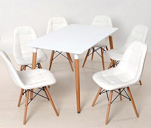 Design holztisch esstisch nolan 120 80 wei holzf e for Holztisch retro
