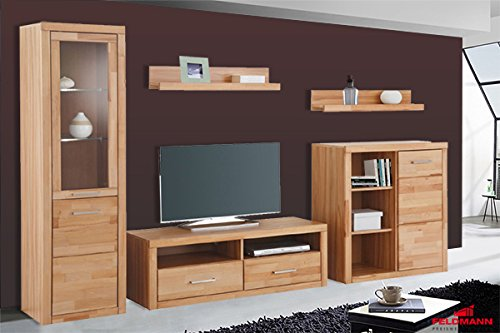 wohnwand anbauwand 5 teilig 528756 kernbuche teilmassiv m bel24. Black Bedroom Furniture Sets. Home Design Ideas