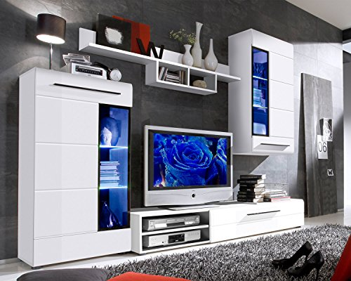 wohnwand anbauwand wohnzimmerschrank 4 tlg susanne schwarz wei hochglanz led beleuchtung. Black Bedroom Furniture Sets. Home Design Ideas