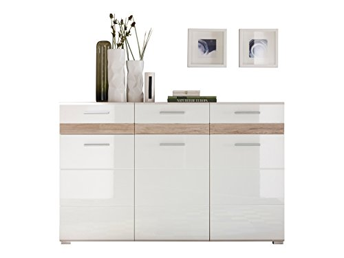 trendteam so87496 kommode sideboard eiche san remo hell nachbildung fronten wei hochglanz. Black Bedroom Furniture Sets. Home Design Ideas