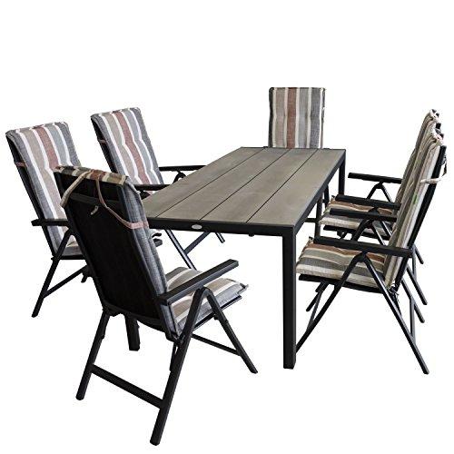 13tlg gartensitzgruppe gartentisch mit polywood tischplatte in grau 205x90cm inkl 6x hochlehner. Black Bedroom Furniture Sets. Home Design Ideas