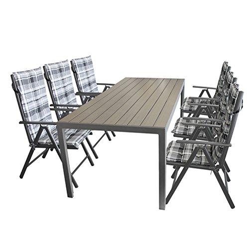 13tlg sitzgarnitur aluminiumtisch mit polywood tischplatte in schwarz 205x90cm 6x hochlehner. Black Bedroom Furniture Sets. Home Design Ideas