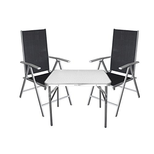 3tlg campingm bel balkonm bel gartenm bel set sitzgruppe aluminium campingtisch klapptisch. Black Bedroom Furniture Sets. Home Design Ideas