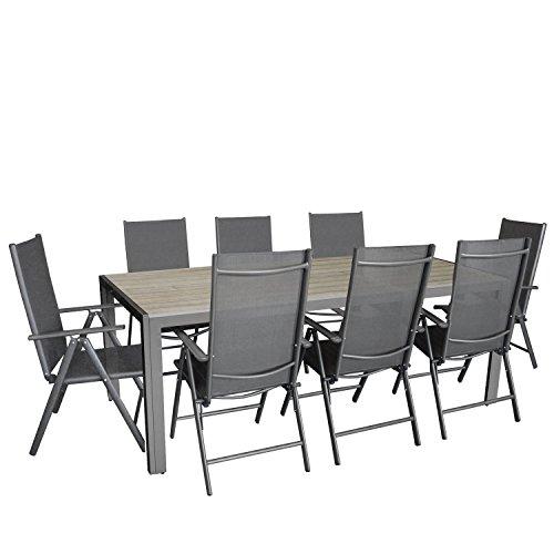 9tlg gartengarnitur aluminium gartentisch mit polywood tischplatte grau 205x90cm 8x. Black Bedroom Furniture Sets. Home Design Ideas