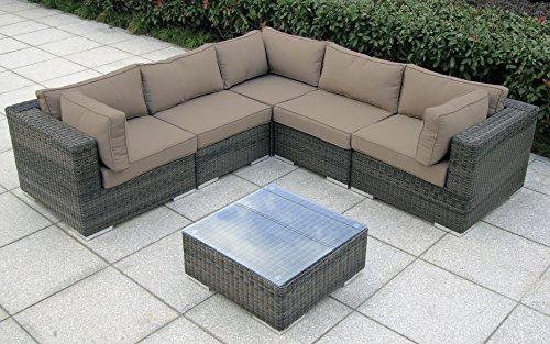 Baidani Garten Lounge Garnitur Rundrattan, Vacation Select, taupe, 240 x 240 x 62 cm, 13a00010.90007