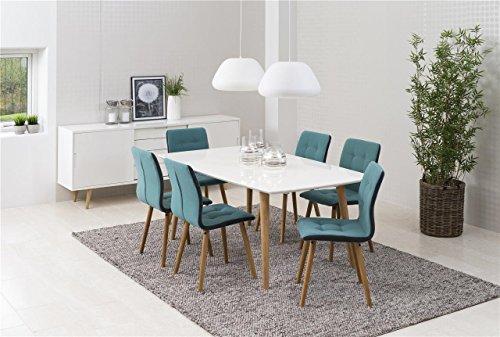 essgruppe mit 6 st hlen tischgruppe mit st hlen 7tlg komplett tisch wei aus massivholz lackier. Black Bedroom Furniture Sets. Home Design Ideas