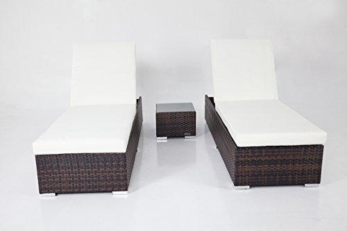 OUTFLEXX 2er-Set Sonnenliegen aus Polyrattan inkl. Beistelltisch, je 200x70x35cm, in braun-marmoriert