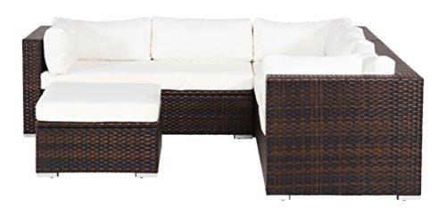 OUTFLEXX Sitzgruppe aus Polyrattan mit Boxfunktion inkl. Hocker, für 6 Pers., braun-marmoriert
