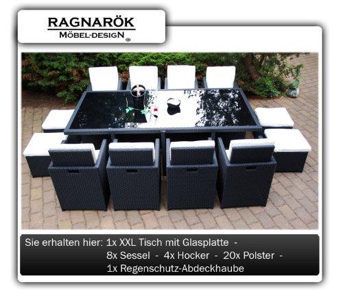 PolyRattan Essgruppe DEUTSCHE MARKE -- EIGNENE PRODUKTION Tisch + 8x Stuhl & 4x Hocker 7 Jahre GARANTIE Garten Möbel incl. Glas und Sitzkissen Ragnarök-Möbeldesign (schwarz) Gartenmöbel