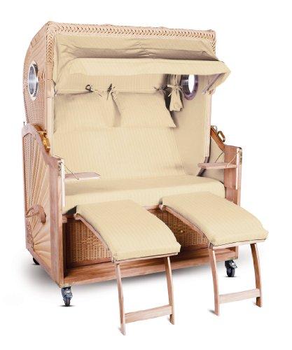 strandkorb kampen spezial 2 sitzer beige nadelstreifen seiten beige mit bullauge m bel24. Black Bedroom Furniture Sets. Home Design Ideas