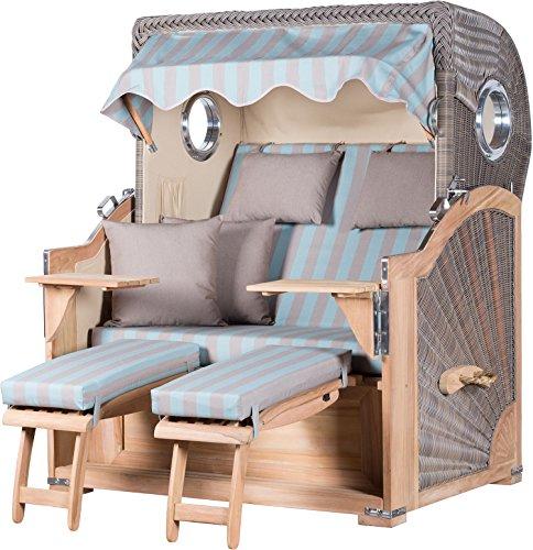 strandkorb kampen teak bullauge pe grau dessin 121 strandk rbe fertig aufgebaut m bel24. Black Bedroom Furniture Sets. Home Design Ideas