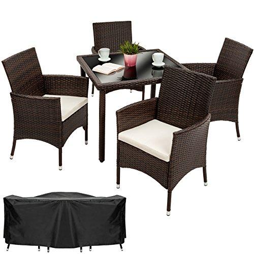 tectake poly rattan gartenm bel gartengarnitur essgruppe 4 1 mit edelstahlschrauben mixed. Black Bedroom Furniture Sets. Home Design Ideas